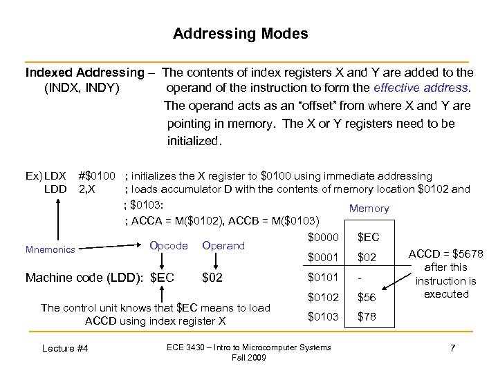 Addressing Modes Indexed Addressing – The contents of index registers X and Y are
