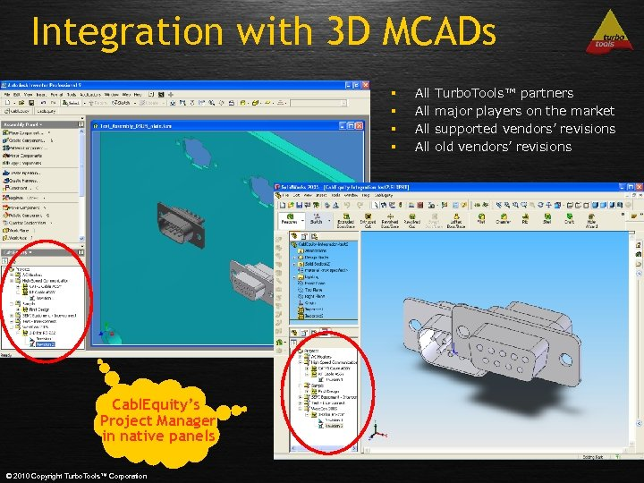 Integration with 3 D MCADs § § Cabl. Equity's Project Manager in native panels