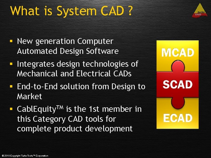 What is System CAD ? § New generation Computer Automated Design Software § Integrates