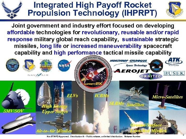 Integrated High Payoff Rocket Propulsion Technology (IHPRPT) Joint government and industry effort focused on