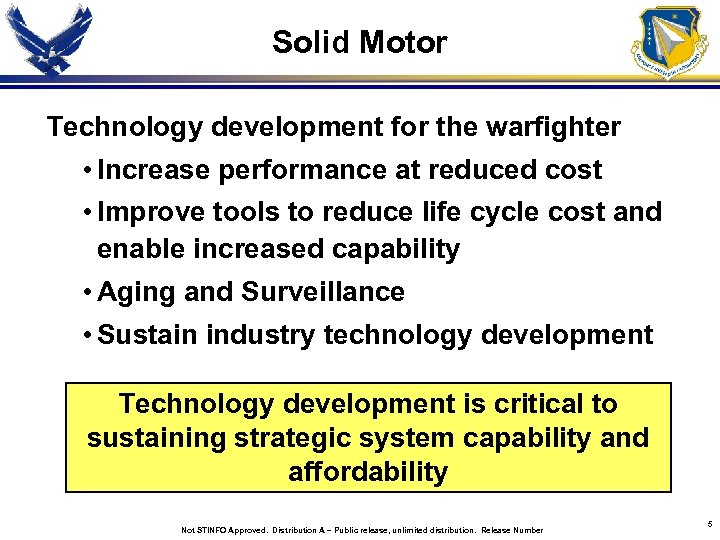 Solid Motor Technology development for the warfighter • Increase performance at reduced cost •