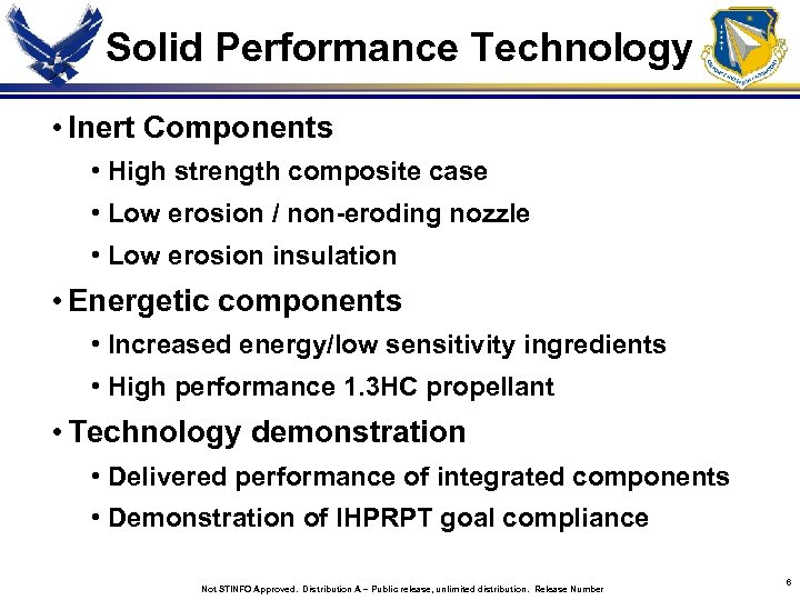 Solid Performance Technology • Inert Components • High strength composite case • Low erosion