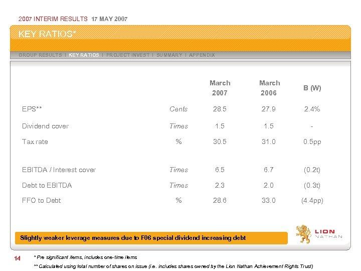 2007 INTERIM RESULTS 17 MAY 2007 KEY RATIOS* GROUP RESULTS I KEY RATIOS I