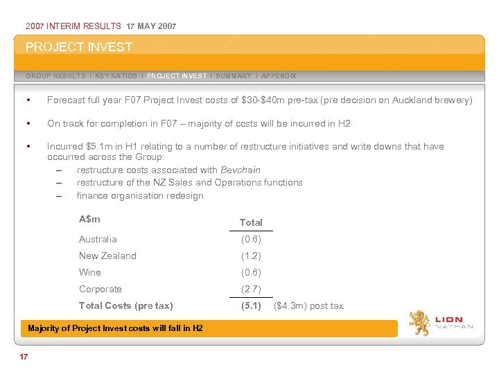 2007 INTERIM RESULTS 17 MAY 2007 PROJECT INVEST GROUP RESULTS I KEY RATIOS I