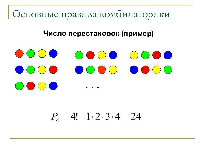 Основные правила комбинаторики Число перестановок (пример) . . .
