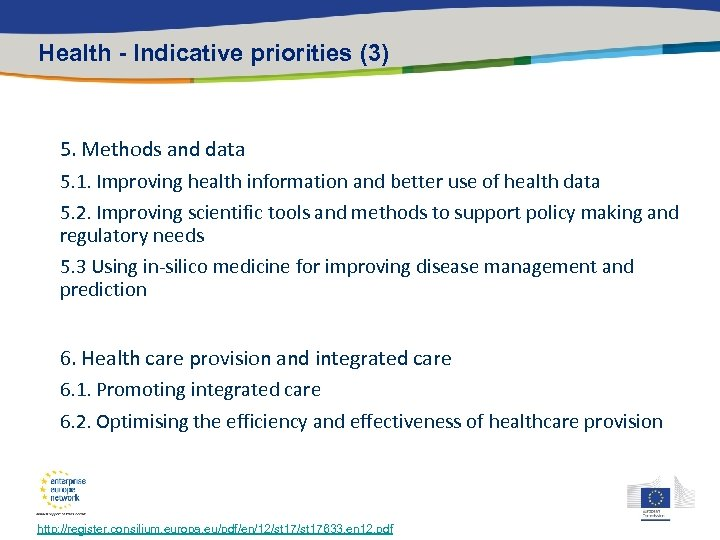 Health - Indicative priorities (3) 5. Methods and data 5. 1. Improving health information