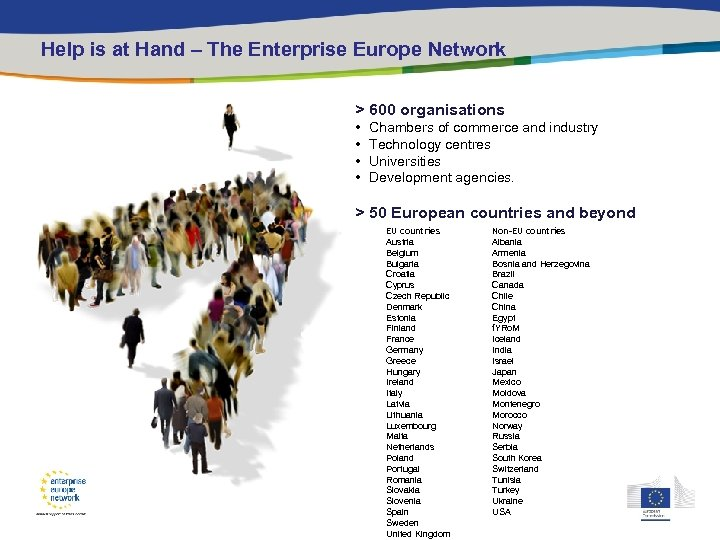 Help is at Hand – The Enterprise Europe Network > 600 organisations • •