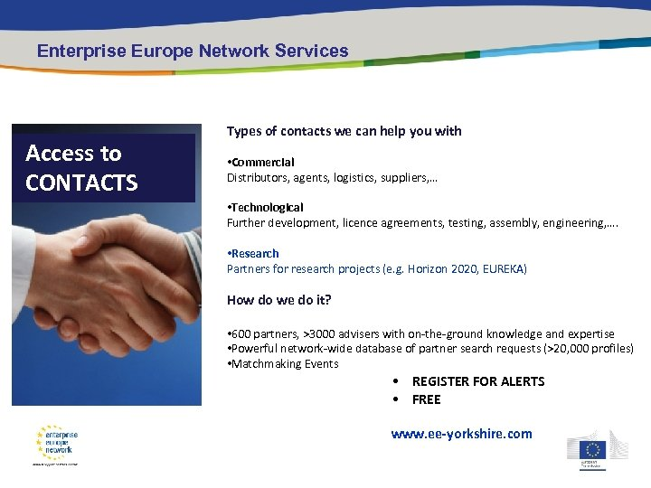 Enterprise Europe Network Services Access to CONTACTS Types of contacts we can help you