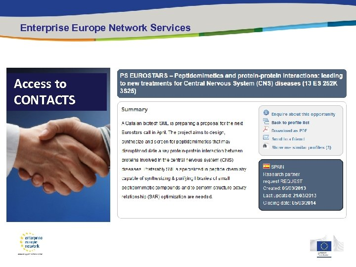 Enterprise Europe Network Services Access to CONTACTS Research Profile