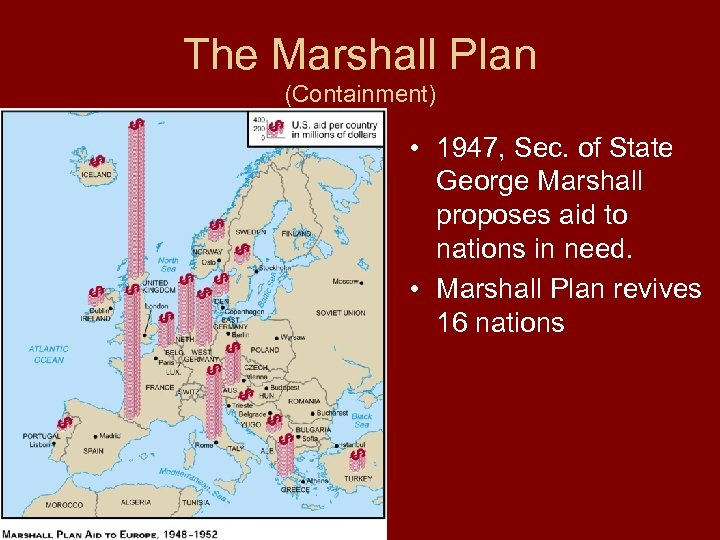 The Marshall Plan (Containment) • 1947, Sec. of State George Marshall proposes aid to