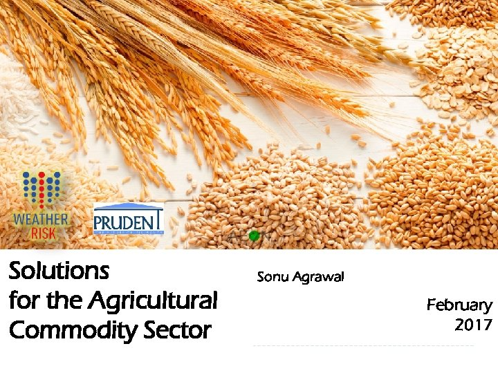 Solutions for the Agricultural Commodity Sector 1 Sonu Agrawal February 2017