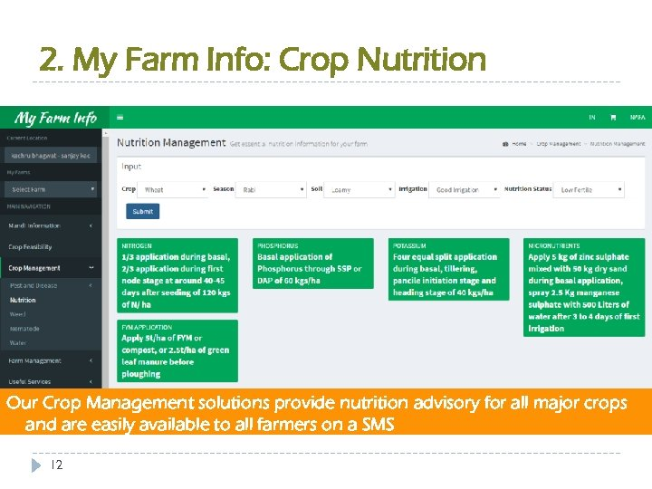 2. My Farm Info: Crop Nutrition Our Crop Management solutions provide nutrition advisory for