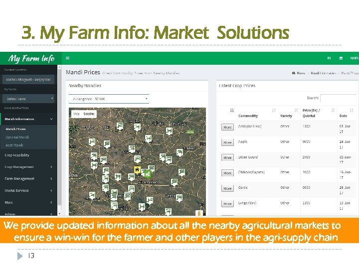 3. My Farm Info: Market Solutions We provide updated information about all the nearby