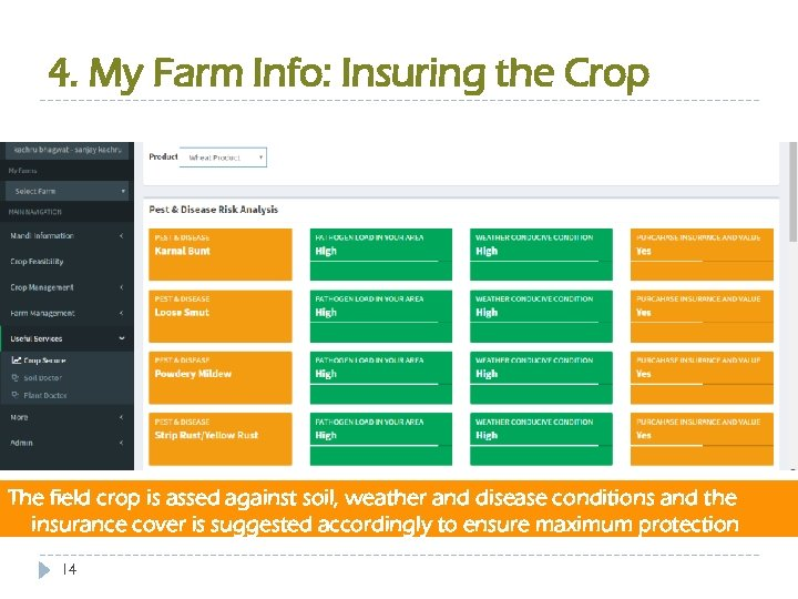 4. My Farm Info: Insuring the Crop The field crop is assed against soil,