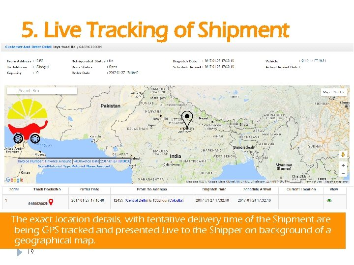 5. Live Tracking of Shipment The exact location details, with tentative delivery time of