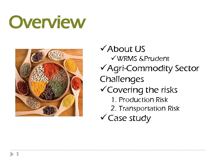 Overview üAbout US üWRMS &Prudent üAgri-Commodity Sector Challenges üCovering the risks 1. Production Risk