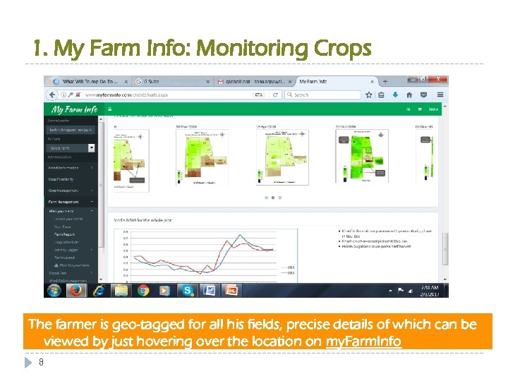 1. My Farm Info: Monitoring Crops The farmer is geo-tagged for all his fields,