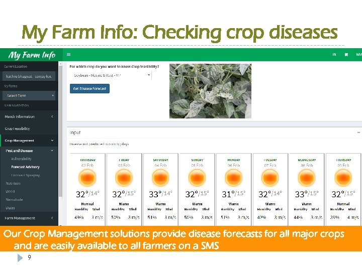 My Farm Info: Checking crop diseases Our Crop Management solutions provide disease forecasts for