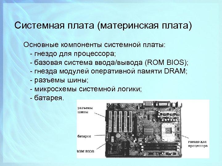 Системная плата (материнская плата) Основные компоненты системной платы: - гнездо для процессора; - базовая