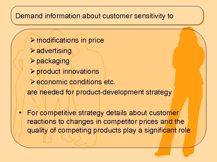 Demand information about customer sensitivity to Ø modifications in price Ø advertising Ø packaging