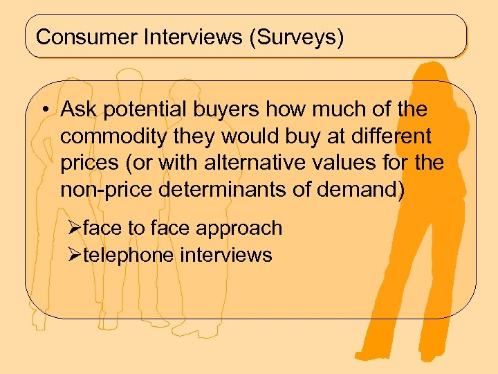 Consumer Interviews (Surveys) • Ask potential buyers how much of the commodity they would
