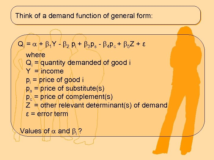 Think of a demand function of general form: Q i = + 1 Y
