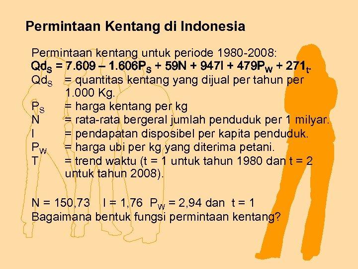 Permintaan Kentang di Indonesia Permintaan kentang untuk periode 1980 -2008: Qd. S = 7.
