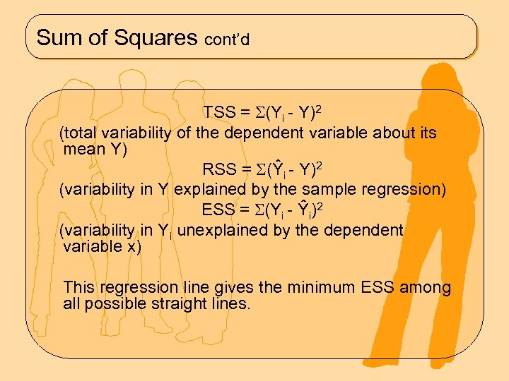Sum of Squares cont'd TSS = (Yi - Y)2 (total variability of the dependent