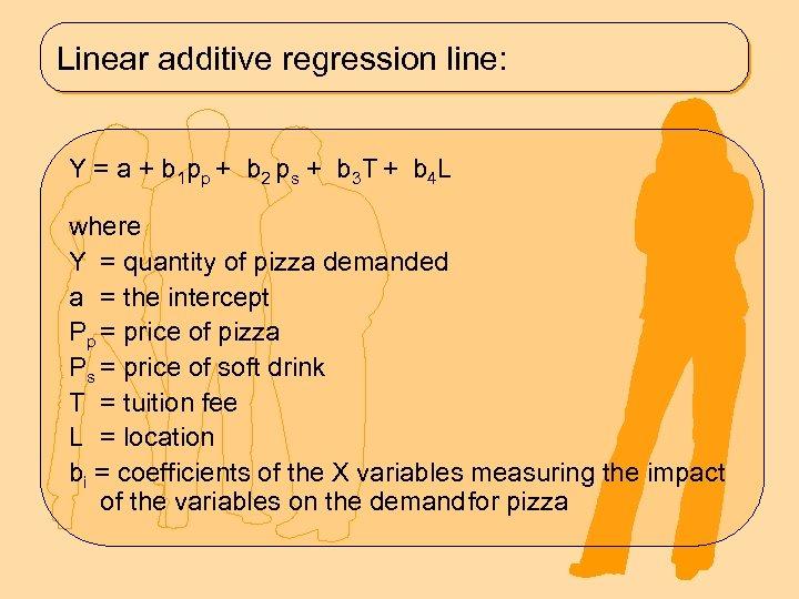 Linear additive regression line: Y = a + b 1 p p + b