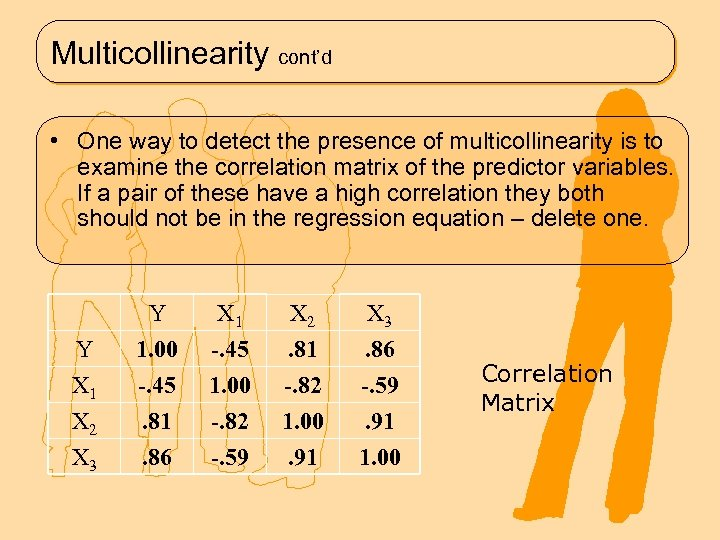 Multicollinearity cont'd • One way to detect the presence of multicollinearity is to examine