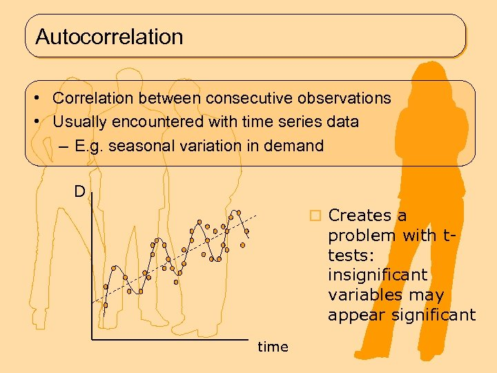 Autocorrelation • Correlation between consecutive observations • Usually encountered with time series data –