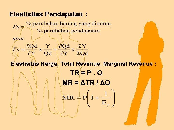 Elastisitas Pendapatan : Elastisitas Harga, Total Revenue, Marginal Revenue : TR = P. Q