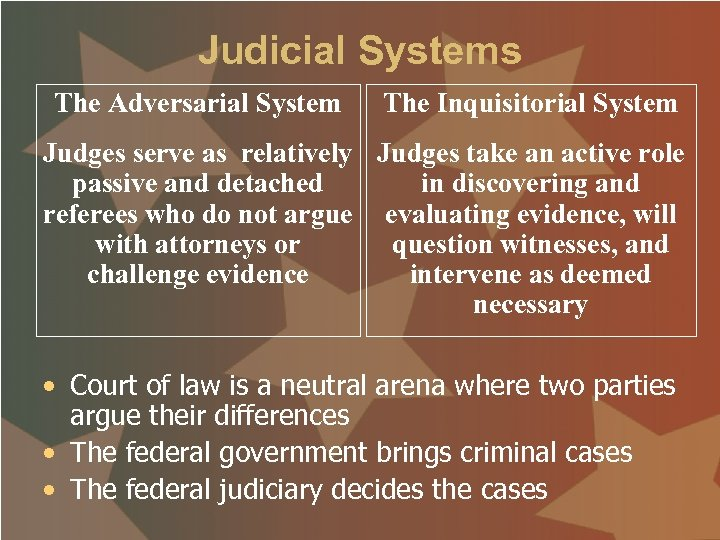 Judicial Systems The Adversarial System The Inquisitorial System Judges serve as relatively Judges take