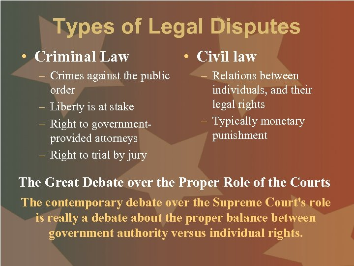 Types of Legal Disputes • Criminal Law – Crimes against the public order –