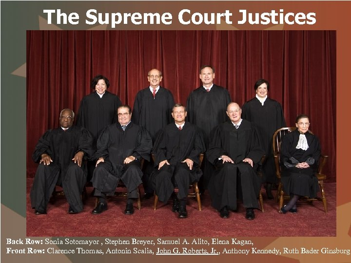 The Supreme Court Justices Back Row: Sonia Sotomayor , Stephen Breyer, Samuel A. Alito,