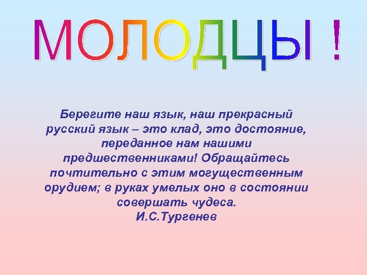 Берегите наш язык, наш прекрасный русский язык – это клад, это достояние, переданное нам