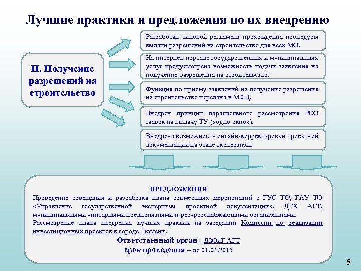 Лучшие практики и предложения по их внедрению Разработан типовой регламент прохождения процедуры выдачи разрешений