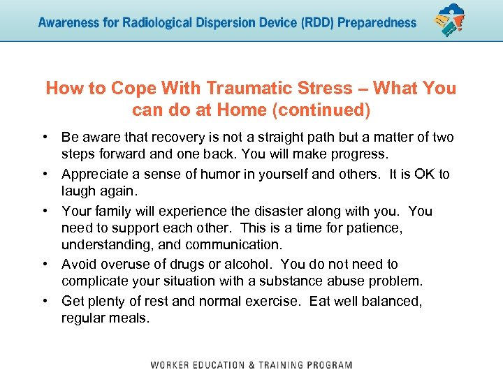 How to Cope With Traumatic Stress – What You can do at Home (continued)