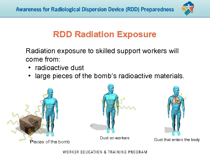RDD Radiation Exposure Radiation exposure to skilled support workers will come from: • radioactive