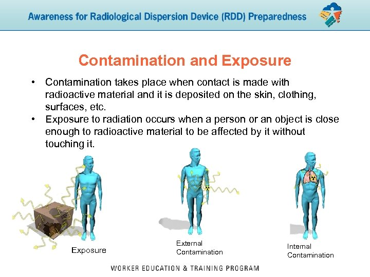 Contamination and Exposure • Contamination takes place when contact is made with radioactive material