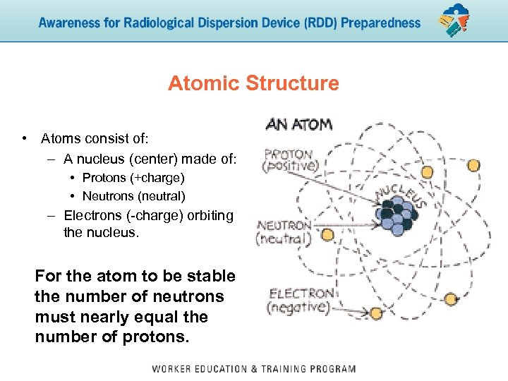 Atomic Structure • Atoms consist of: – A nucleus (center) made of: • Protons