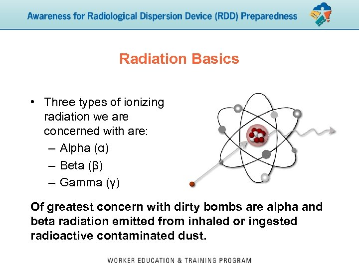 Radiation Basics • Three types of ionizing radiation we are concerned with are: –