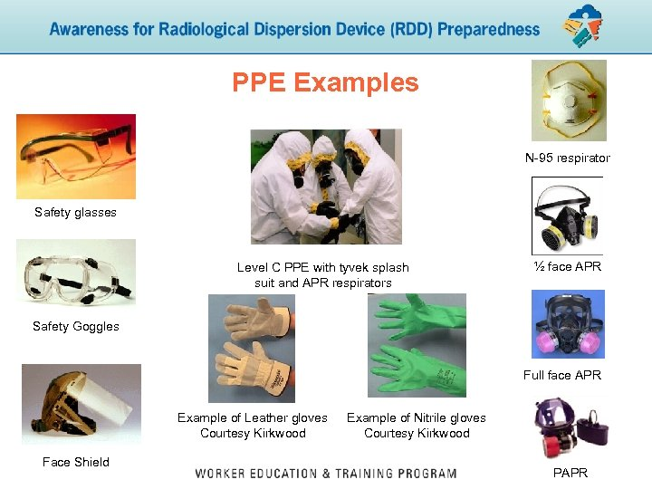 PPE Examples N-95 respirator Safety glasses Level C PPE with tyvek splash suit and