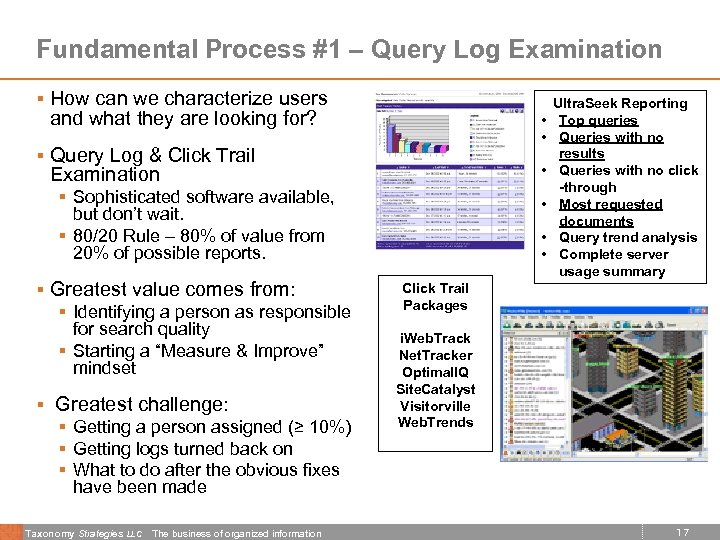 Fundamental Process #1 – Query Log Examination § How can we characterize users and