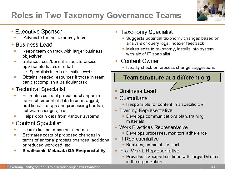 Roles in Two Taxonomy Governance Teams § Executive Sponsor § Advocate for the taxonomy