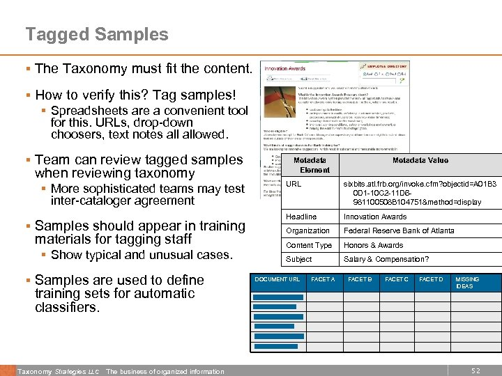 Tagged Samples § The Taxonomy must fit the content. § How to verify this?