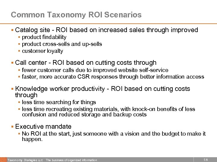 Common Taxonomy ROI Scenarios § Catalog site - ROI based on increased sales through