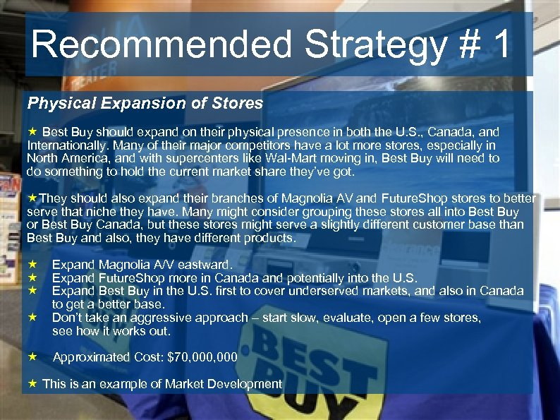Recommended Strategy # 1 Physical Expansion of Stores « Best Buy should expand on