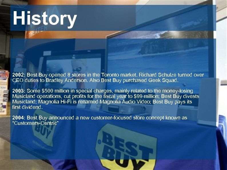History 2002: Best Buy opened 8 stores in the Toronto market. Richard Schulze turned