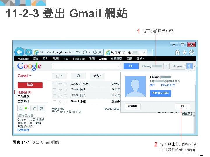11 -2 -3 登出 Gmail 網站 20